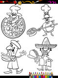 Cook chefs set cartoon coloring book Stock Image