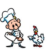 Cook  chicken  fear cartoon illustration Stock Photography