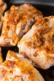 Cook chicken  with spice on frying pan Stock Images