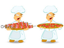 Cook chief pizza meat Royalty Free Stock Photography