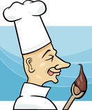 Cook with chocolate cream cartoon Royalty Free Stock Image