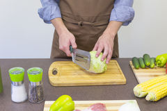 Cook chopped cabbage Royalty Free Stock Photography