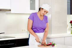 Cook chopping fresh vegetables in the kitchen Royalty Free Stock Image
