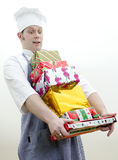 Cook with christmas gifts Stock Image