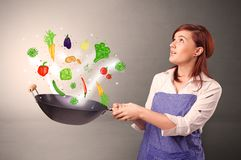 Cook with colourful drawn vegetables. Cooking with colourful drawn vegetables on grunge background royalty free stock photography