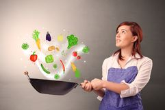 Cook with colourful drawn vegetables. Cooking with colourful drawn vegetables on grunge background royalty free stock images