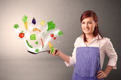 Cook with colourful drawn vegetables. Cooking with colourful drawn vegetables on grunge background royalty free stock photo