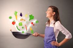 Cook with colourful drawn vegetables. Cooking with colourful drawn vegetables on grunge background stock photo
