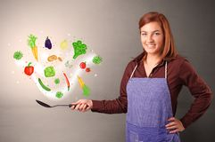 Cook with colourful drawn vegetables. Cooking with colourful drawn vegetables on grunge background royalty free stock photos