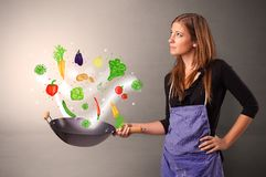 Cook with colourful drawn vegetables. Cooking with colourful drawn vegetables on grunge background royalty free stock image