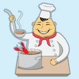 Character chef cooks the lobster bisque. vector illustration royalty free illustration