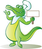 Cook croc. Vector illustration of cook crocodile holding blank signboard Royalty Free Stock Photo