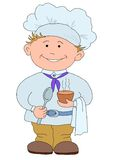 Cook with cup of coffee. Cook, restaurant chef with a hat on a head, with cup of drink Royalty Free Stock Photography