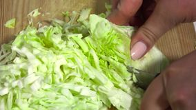 Cabbage is cut for salad stock video footage