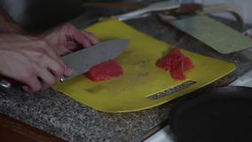 Cook prepare fish for diet food stock footage