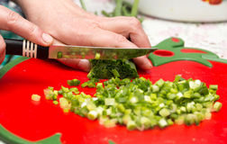 Cook cuts green onions with a knife Stock Photo