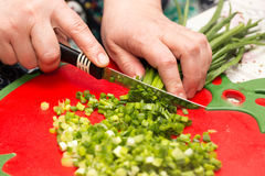 Cook cuts green onions with a knife Royalty Free Stock Images