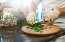Cook cuts the greens Stock Photos