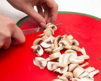 The cook cuts mushrooms with a knife Royalty Free Stock Image