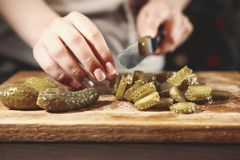 Cook cuts pickled cucumbers, knife in female hands, cooking process, beautiful little cucumbers, close-up, chef cuts cucumbers, royalty free stock photo