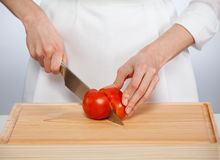 Cook cutting fresh tomato Royalty Free Stock Photos