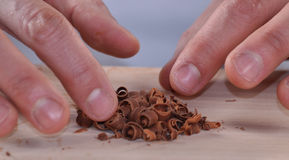 Cook with dark chocolate stac Stock Photo