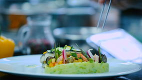 The cook decorate the dish in the restaurant stock video footage