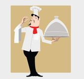 Cook with dish. The cook costs with a dish praises tasty meal Stock Photo