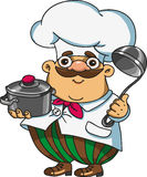 Cook with the dishes in the hands of. Kartoon funny cook holds the dishes in the hands of vector illustration