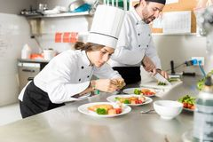 Cook Dressing Food At Kitchen Counter. Female culinary artist garnishing dish with basil leaves in commercial kitchen stock photos