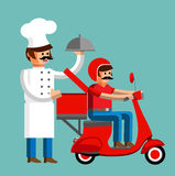 Cook with the driver of the scooter Stock Photos