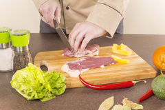 Cook duck breast cuts the Royalty Free Stock Image
