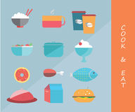 Cook and eat icons. Illustration of cook and eat icons design Stock Images