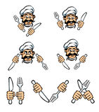 Cook face with knife and fork royalty free illustration