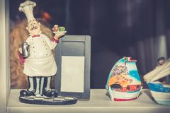 Cook figurine with copy space stock photos
