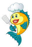 Cook fish. Cartoon cook fish with dishware for cooking concept Stock Photography