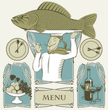Cook fish. Set of cook fish on the head and two dishes Royalty Free Stock Images