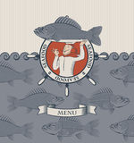 Cook and the fish. Banner with cook and the fish on a tray Royalty Free Stock Photos