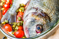 Cook fish closeup Royalty Free Stock Images