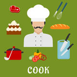 Cook with food and dishes. Flat icons Stock Photos