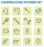 Cook and food icons stickers set Royalty Free Stock Photos
