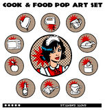 Cook and Food Pop Art Icons Set Stock Photo