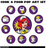 Cook and Food Pop Art Icons Set Stock Photography