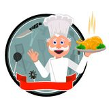 Cook french. Happy cook is treated with wine after work Royalty Free Stock Photo