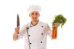 Cook with fresh carrots Royalty Free Stock Images