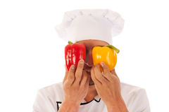 Cook with fresh paprikas Royalty Free Stock Images