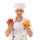Cook with fresh paprikas Stock Images