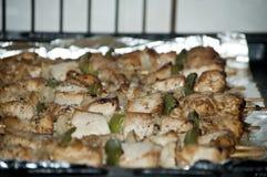 Freshly shish kebab with greens Stock Photography