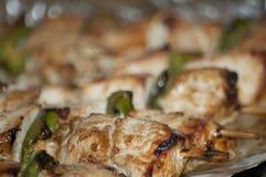 Freshly shish kebab with greens Royalty Free Stock Images