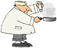 Cook With A Frying Pan Stock Photo